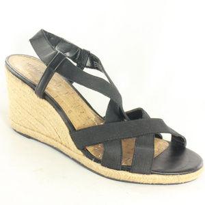 Like New MERONA Black Strappy Wedge Sandals